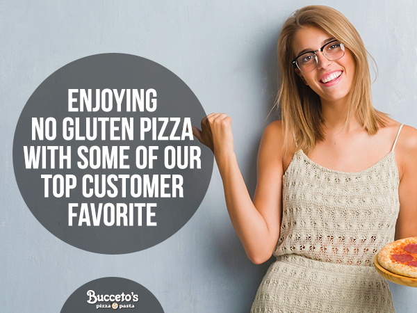 Enjoying No Gluten Pizza With Some Of Our Top Customer Favorites
